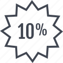 percent, rate, tag, ten icon