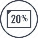 doc, percent, rate, twenty icon