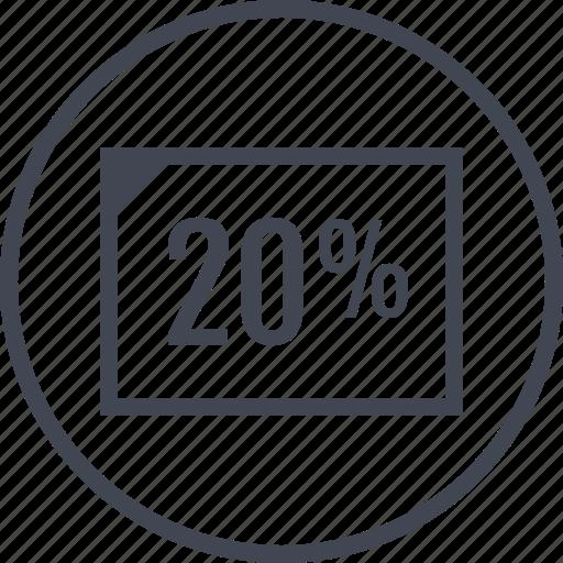 doc, percent, rate, twenty icon
