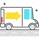arrow, box, car, delivery, item, truck icon
