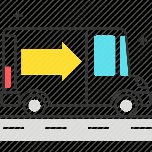 arrow, box, car, delivery, item, truck icon