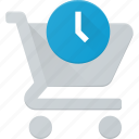 action, buy, cart, dellay, shop, store, time icon