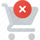 action, buy, cart, disable, error, shop, store icon