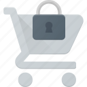 action, buy, cart, lock, secure, shop, store icon
