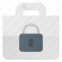 action, bag, buy, lock, paper, shopping icon