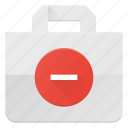 action, bag, buy, minus, paper, remove, shopping icon