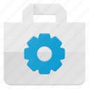action, bag, buy, gear, paper, settings, shopping icon