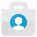 action, bag, buy, paper, people, shopping, user icon