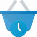 action, basket, buy, delay, shop, shopping, time icon
