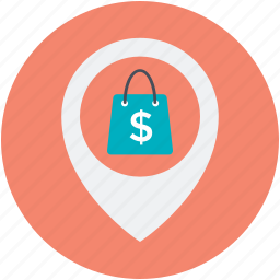 gps, map, map pin, navigation, shopping area icon