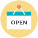 board, hotel board, open, open hanging board, open sign icon