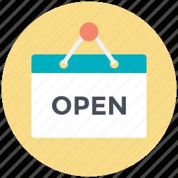 board, hotel board, open, open hanging board, open sign icon
