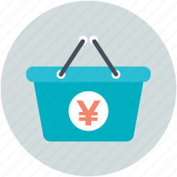 basket, online store, shopping, shopping basket, yen basket icon