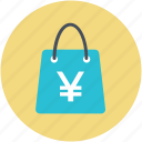 carryall bag, tote, tote bag, yen sign, yen tote bag icon