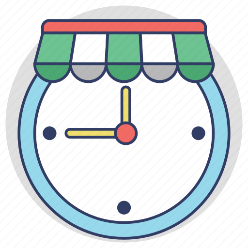 opening hours, sale time, shopping hours, shopping time, trading hours icon