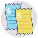 bill, invoice, receipt, shopping receipt, voucher icon