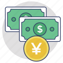banknotes, cash payment, currency, dollar and yuan, money icon