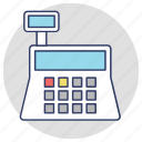 adding machine, cash box, cash till, money box icon