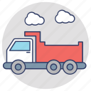 dump truck, dumper, industrial vehicle, tipper truck, transport icon
