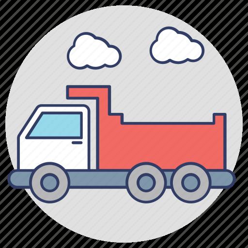 dump truck, dumper, industrial vehicle, tipper truck, transport icon