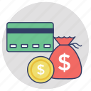 credit card, alternative payments, payment methods, money sack, finance icon
