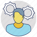 brainstorming, creative person, profile setting, technical support, thinking icon