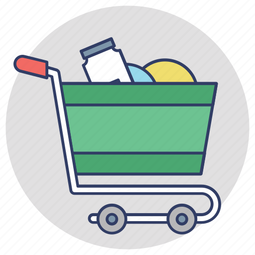 buy online, ecommerce, grocery cart, grocery shopping, shopping trolley icon