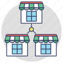 branch offices, business growth, connected shops, franchises, supermarket shops icon