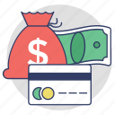 credit card, alternative payments, payment methods, finance, money bag icon
