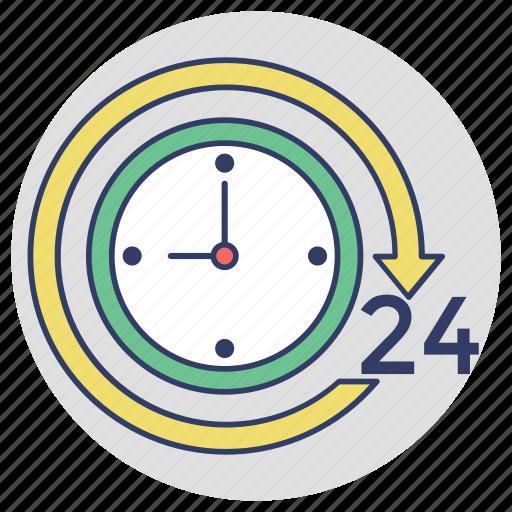 24/7, around the clock, customer service, full service, twenty four hours icon