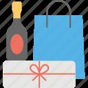 celebration items shopping, drink bottle, gift box, shopping, shopping bag icon