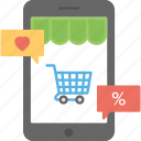 internet shopping, mobile commerce, mobile shopping, mobile store, online shopping icon