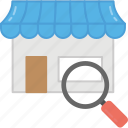 finding shop, finding store location, looking for store, searching grocery shop, store search icon