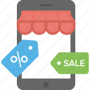 ecommerce, mobile commerce, mobile store, online deals, online sale icon