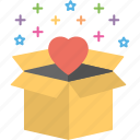 favorite parcel, favorite product, heart product, romantic gift, special package icon