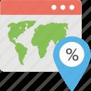 location pointer, online address, sale location, web address, website address icon