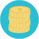 currency, dollar coin, dollar sign, financial, money icon