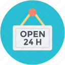 hotel board, open, open hanging board, open sign, open twenty four icon