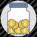 cash, money jar, pound coins, save money, savings icon