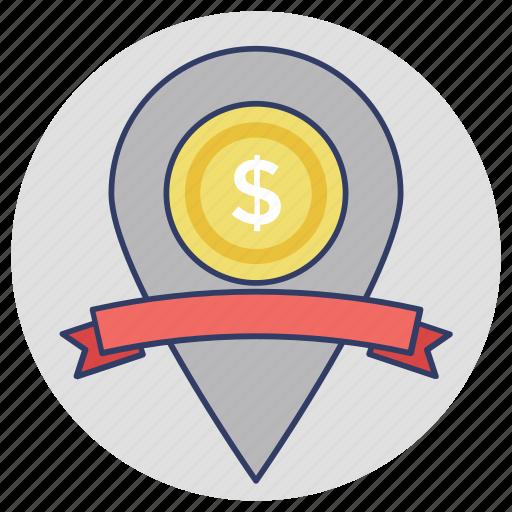 bank location, commerce, dollar map pin, gps, money location icon