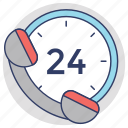 24 hours helpline, call center, customer support, helpline, hotline icon
