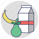 nutrition, fruits, juice carton, milk pack, tetra pack icon