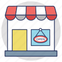 commercial signage, open sign board, open shop, shop sign, we are open icon