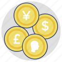 cash, currency coins, money, savings, wealth icon