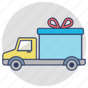 delivery truck, delivery van, delivery vehicle, gift delivery, logistic delivery icon