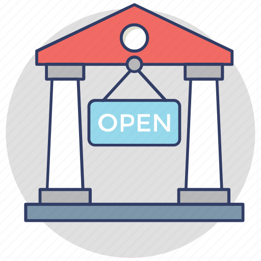 commercial signage, open bank, open signboard, shop sign, we are open icon