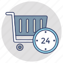 24 hour shopping, 24/7 service, full time service, open 24 hours, shopping trolley icon