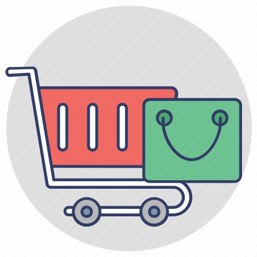 buy online, ecommerce, shopping bag, shopping cart, shopping trolley icon