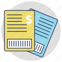 bill, paycheck, receipt, shopping receipt, voucher icon