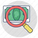 audit, budget, looking for money, money analyzer, search money icon